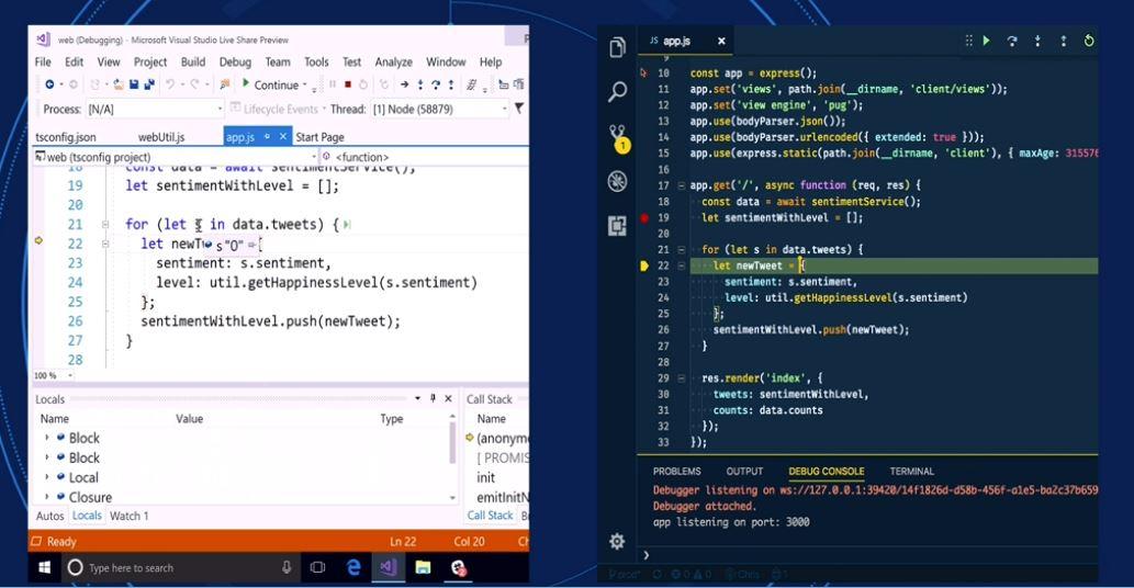#VS Live Share è un nuovo servizio per condividere lo schermo in tempo reale. funziona su #vs2017, #vscode e sarà lanciato nel 2018. #MSFTConnect